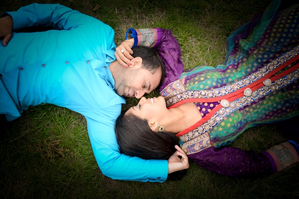 Professional indian wedding photography captures engagement shoot.