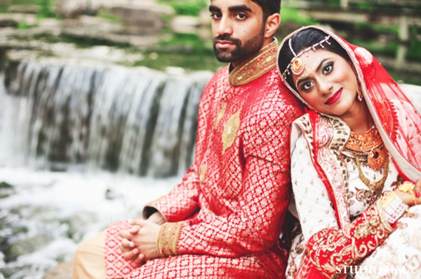 Indian bride and groom before indian wedding ceremony.