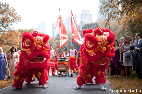 Fusion indian wedding baraat with chinese lion dancers