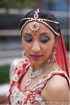 Indian bride in traditional Indian bridal jewelry set.