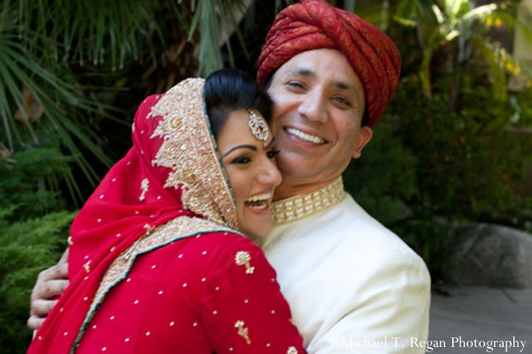 Pakistani bride and groom at their Pakistani ring exchange ceremony.