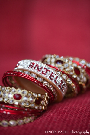 Indian bridal jewelry set includes custom bangles.