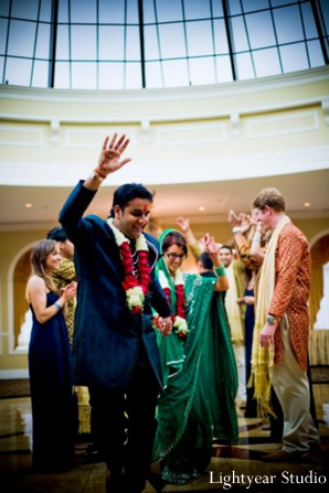 Indian bride and groom are just married at their indian wedding ceremony.