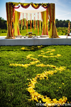 floral ideas for outdoor indian wedding ceremony in yellow.