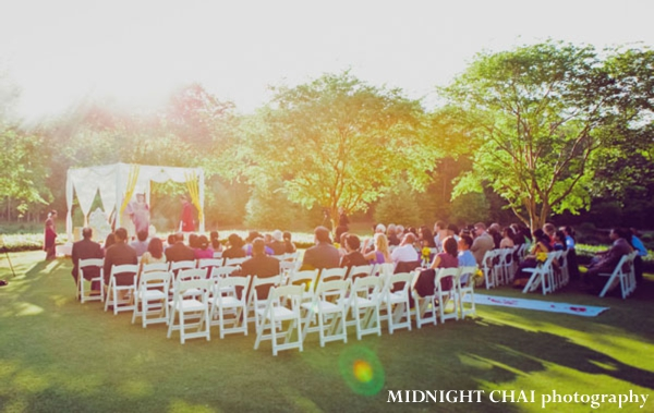 Outdoor indian wedding ceremony in a park.