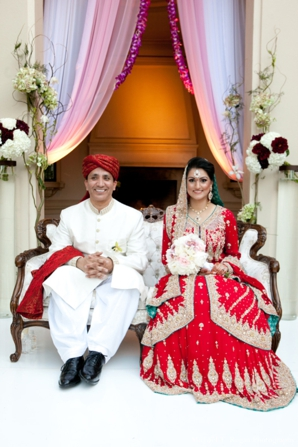 pakistani bride and groom take wedding ceremony portraits.