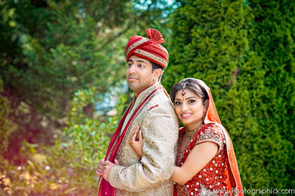 indian bride and groom in their indian wedding portraits.