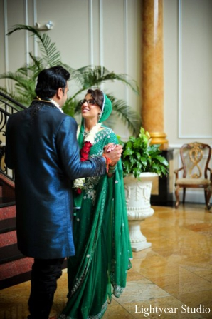 Indian bride and groom at their indian wedding venue.