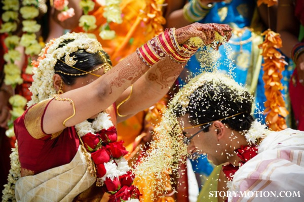 South Indian bride and groom at south indian wedding ceremony.