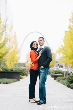 Engagement wedding photos in the park outdoors