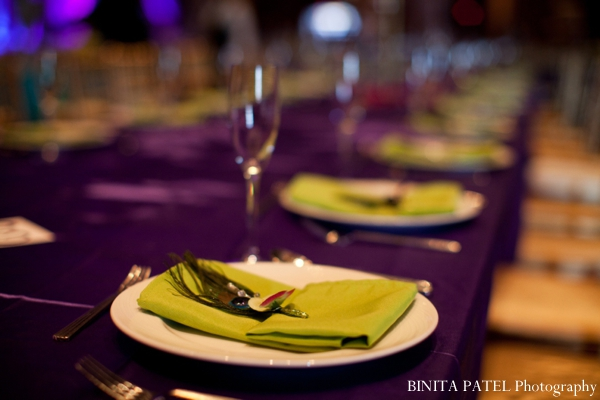 Green and purple peacock indian wedding theme.