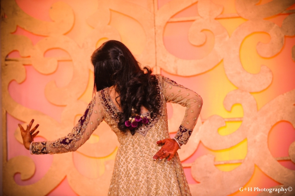 Indian bride in indian wedding outfit at engagement party