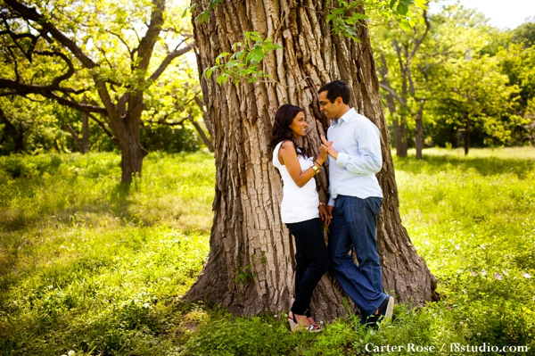 Indian bride and groom have an outdoor engagement shoot.