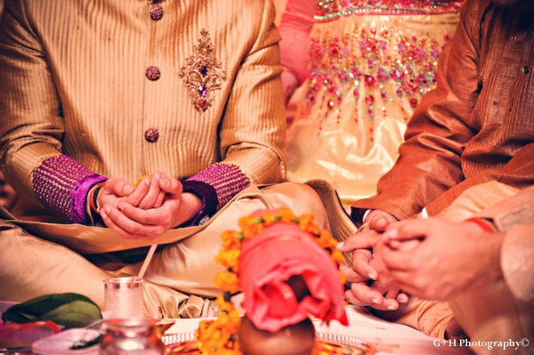 Indian wedding tradition and rituals at engagement party