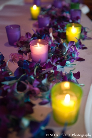 Indian wedding decor ideas for flower petals and tealights.