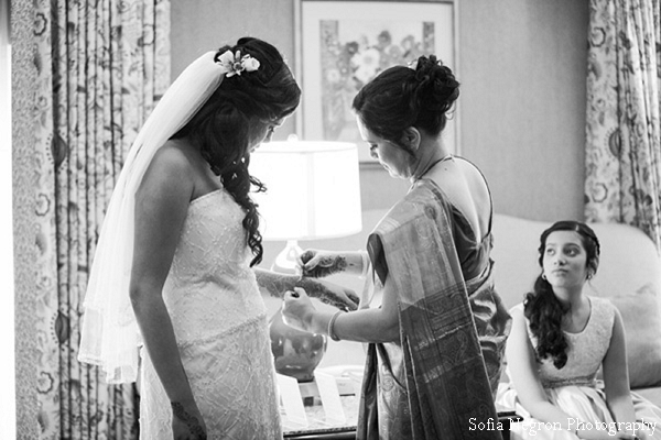 Indian bride gets ready for fusion indian wedding ceremony