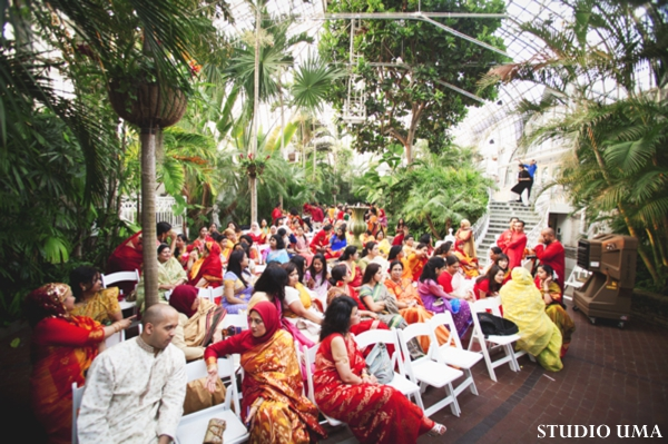 Indian wedding guests at a haldi.