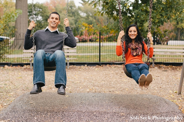 Engagement shoot ideas with indian bride and groom at playground.