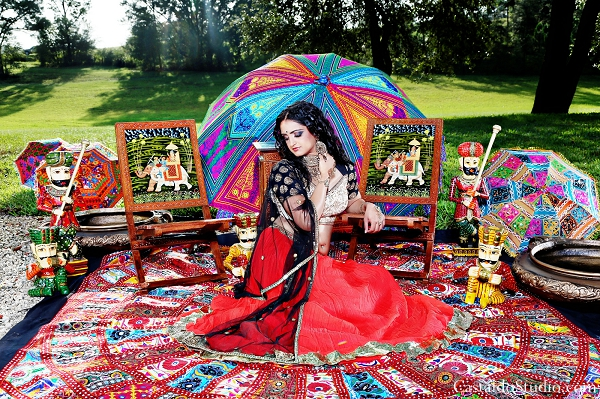 Indian bride in modern lengha for vintage themed photoshoot