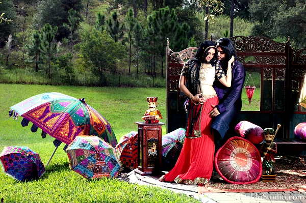 Indian bride and groom pose at vintage indian wedding photoshoot