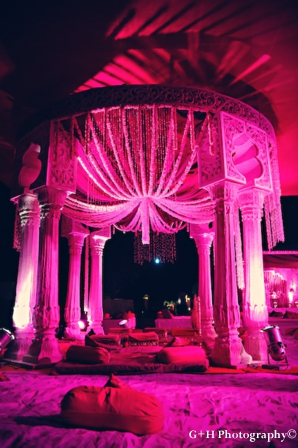Pink wedding mandap for indian wedding with flowers
