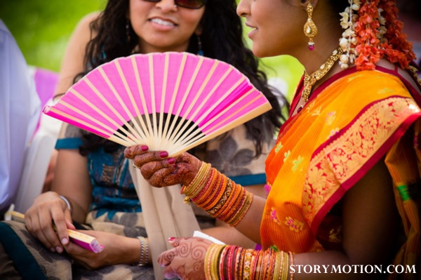South indian bride at outdoor south indian wedding ceremony.