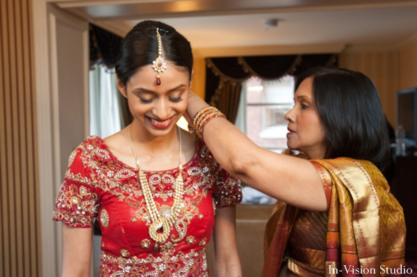 indian bride gets ready for indian wedding ceremony