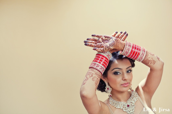 Indian bride shows off her bridal henna.