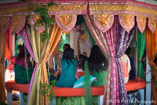 Indian wedding decor ideas for outdoor mehndi party.
