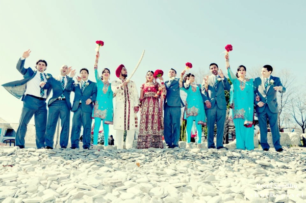 Indian bridal party at sikh indian wedding.