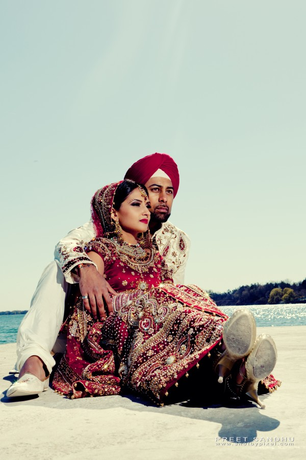 Indian bride and groom after their sikh indian wedding.