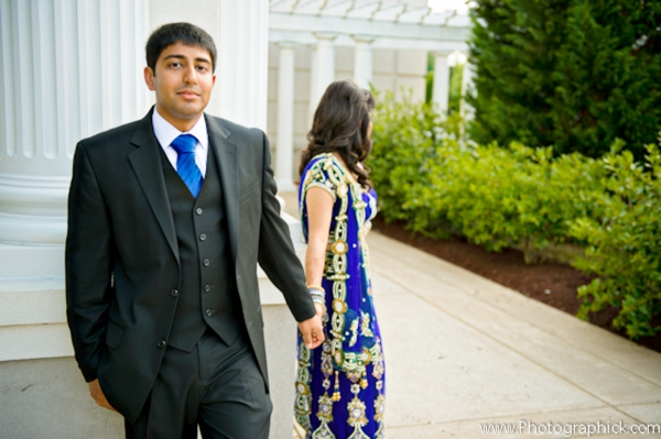 Indian wedding photography captures this indian bride and groom before their indian wedding reception.