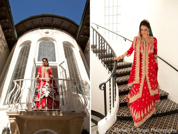Pakistani bride wears red and gold wedding lengha.