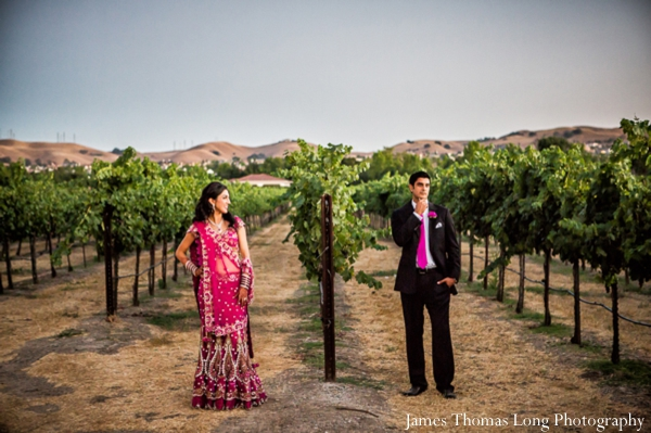 indian bride and groom portrait at winery.