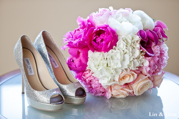 Indian wedding floral bouquet and bridal shoe ideas.
