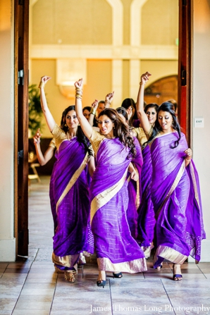 indian bridesmaid in purple saris.