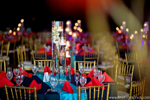Indian wedding reception decoration ideas for a red and blue theme.