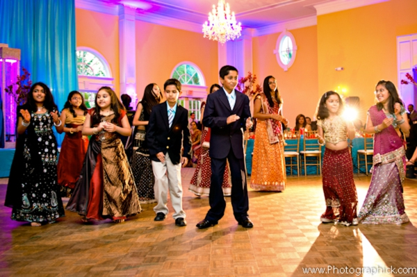 Indian wedding photography at modern indian wedding reception.