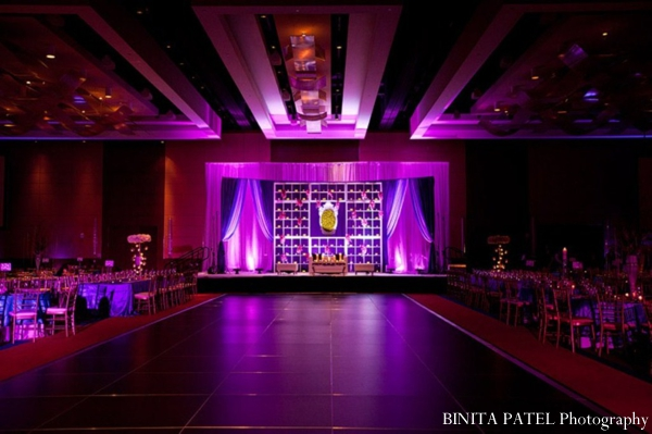 Indian wedding reception ballroom in purple.