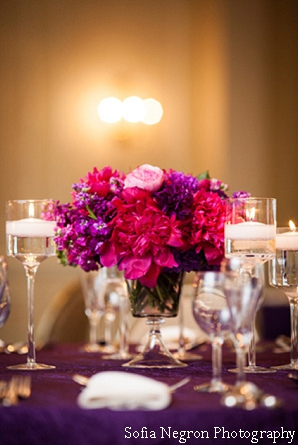 Indian wedding flower ideas in pink and purple.
