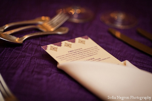 Indian wedding menu and table setting ideas.
