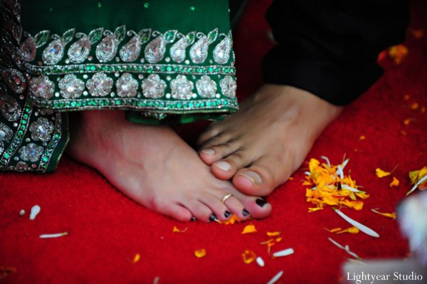 Close up of a traditional indian wedding custom.