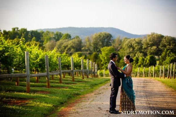 indian bride and groom indian wedding portrait in vineyard.