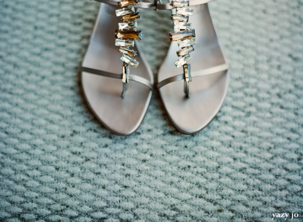 Indian bridal shoes in silver with stones.
