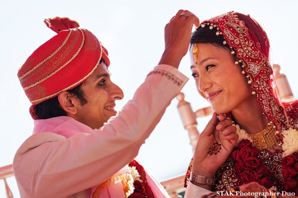 Indian bride and groom at fusion indian wedding ceremony