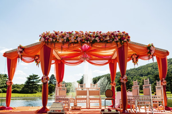 Indian wedding mandap for outdoor ceremony