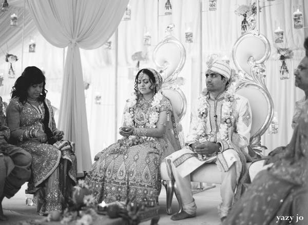 indian bride and groom at indian wedding ceremony