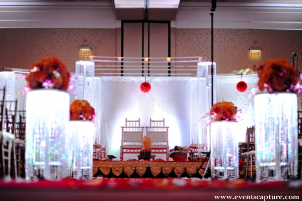 Indian wedding altar in white and red.