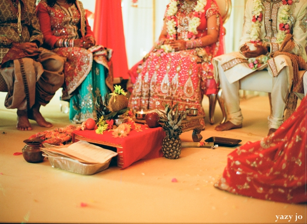 Indian bride and groom altar at indian wedding ceremony