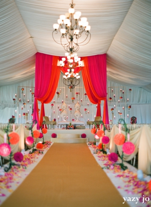 indian wedding ceremony design inspiration in pink and white